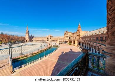 High Angle view on Plaza de Espana Seville Spain