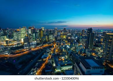 high angle view of osaka urban skyscraper at beautiful twilight sky