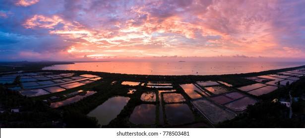High angle view Panorama Shrimp Farm Kanchanadit District, Surat Thani