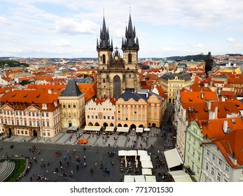 High Angle View of Prague Town Square