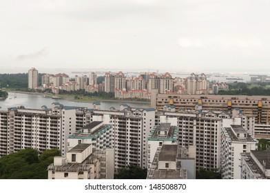 High angle view of high rise buildings at Tanjong Rhu and Kallang with Marina Reservoir.
