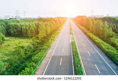 High angle view of road along the forest.