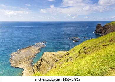 High angle view of the rock looks like Taiwan, named Little Taiwan,Cimei,Penghu,Taiwan