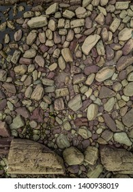 High angle view of rocks and boulders