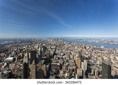 High angle view to the skyscrapers in the Financial District of New York, USA with the Hudson River to the right