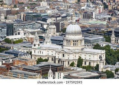 High angle view of St. Paul's Cathedral in London