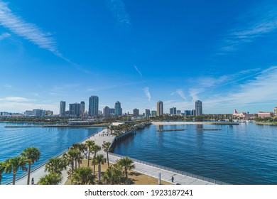 High angle view of St. Petersburg, Florida looking west from pier against blue sky.