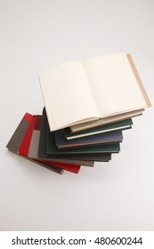 high angle view of stack of book