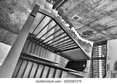 High angle view steps black and white