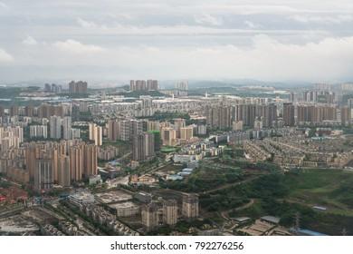 High angle view of suburbs of Chongqing, China
