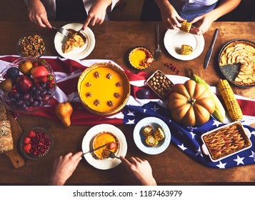 High angle view of table served for thanksgiving dinner with fam