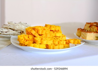 High Angle View Of Traditional Sri Lankan Sinhala And Tamil New Year Sweets On Table. The New year table which comprises a number of sweet items is a major decorative part of the new year festival