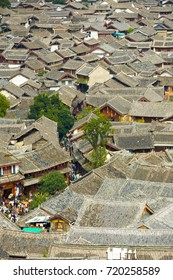 High angle view of traditional tiled Chinese rooftops in the old town of Lijiang, Yunnan, China
