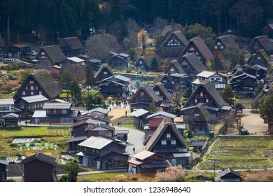 High angle view of the UNESCO World Heritage site in Shirakawa go with traditional Japanese Wada houses and their characteristic thick thatched roofs