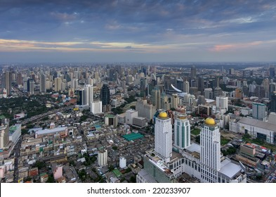 High Angle View Urban Landscape residential district, Bangkok, Thailand at twilight.