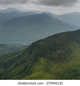 High angle view of valley with mountains, Skeena-Queen Charlotte Regional District, Haida Gwaii, Graham Island, British Columbia, Canada