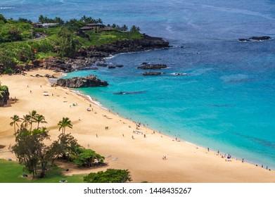 High angle view of Waimea Bay beach park  Oahu Hawaii