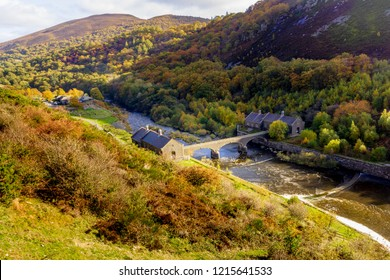 High angle view of water works buildings in a  valley, Elan Valley,  Wales, UK.