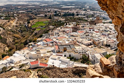 High angle view of the white village of Nijar in Andalusia, Spain.