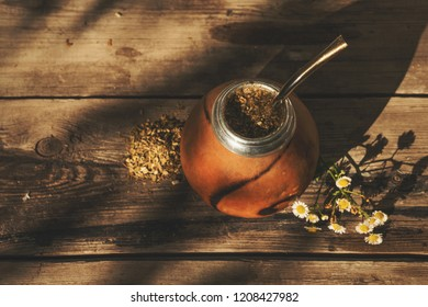 High angle view of yerba mate drink on natural background
