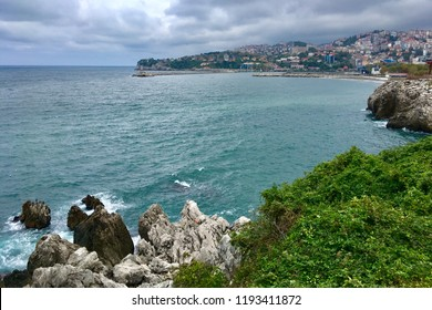 High angle view of Zonguldak shore. Zonguldak is a city and the capital of Zonguldak Province in the Black Sea region of Turkey.