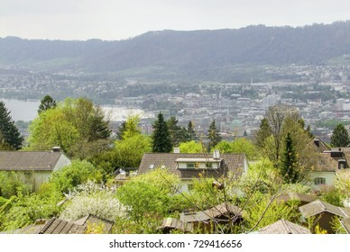 High angle view of Zurich, the largest city in Switzerland