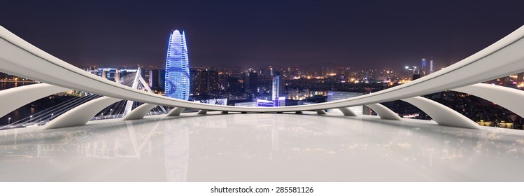 high anglew view of illuminated cityscape from view deck,created with C4D software