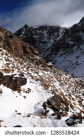 High Atlas mountains in Morocco, hiking to Jebel Toubkal.