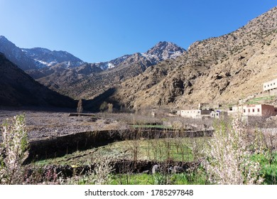High Atlas Mountains in Morocco.  Road to Toubkal in Toubkal National Park