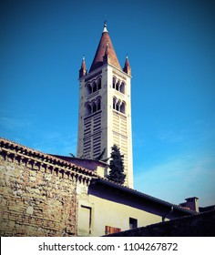 High bell tower of San Zeno Basilica in Verona in Italy with vintage effect