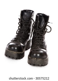 The high black boots on a white background
