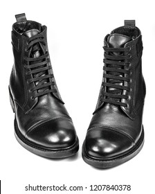 The high black leather boots isolated on white background
