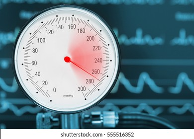 High blood pressure diagnostics medical concept.