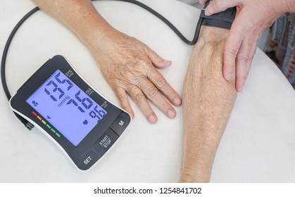 High blood pressure (hypertension) of elderly woman