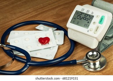 High Blood Pressure Measurement. Treatment of civilization disease. Sick heart