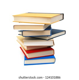 High books stack isolated on white background or back to school