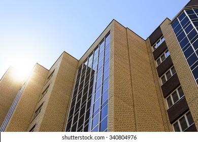 high building. a new high-rise modern apartment house, bottom view