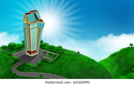 high building with parking on the sunny sky background