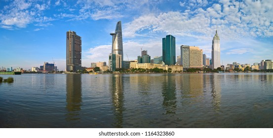 High building and skyscraper in center of Ho Chi Minh city. Royalty high quality free stock image of Ho Chi Minh City with development buildings. Ho Chi Minh city is the biggest city in Vietnam