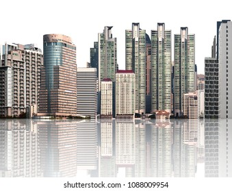 High buildings and tower isolated on white background. Modern office building in city with reflection.