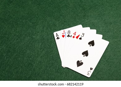 High card, the lowest value hand in poker. five cards of different values from two or more suits.