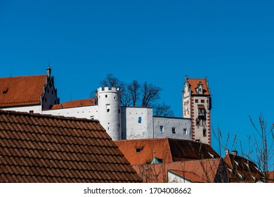 """High Castle """"Hohes Schloss"""" in Fuessen with castel wall and tower with illusionistic architecture paintings"""