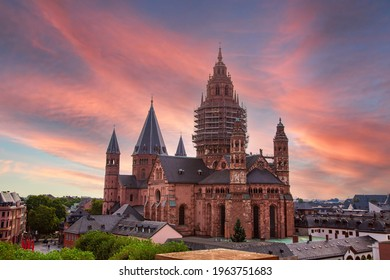 High Cathedral of St. Martin, Mainzer Dom. scaffolding on facade. Roman Catholic Cathedral, Romanesque as well as Gothic and Baroque elements.  Mainz - Rhineland Palatinate, Germany - Shutterstock ID 1963751683