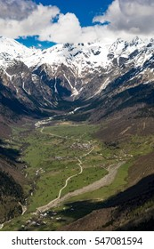 High Caucasus from the air. Svaneti in Georgia. City of Mestia.