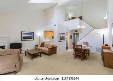 High ceiling condo living room.