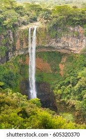 High Chamarel Waterfall in the middle of the Jungle of Mauritius