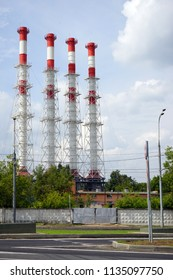 High chimneys and street near Ostankino