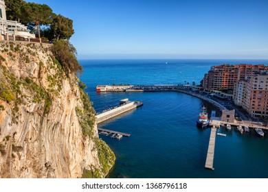 High Cliff of Monaco Ville and Port de Fontvieille on Mediterranean Sea