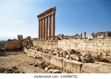 The high columns of the Jupiter Tempel of Baalbek, Lebanon