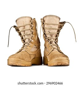 high combat boots in the desert coloring isolated on white background